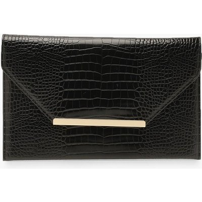 Womens Croc Clutch Bag With Bar - black - One Size, Black