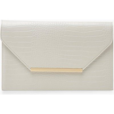Womens Croc Clutch Bag With Bar - white - One Size, White