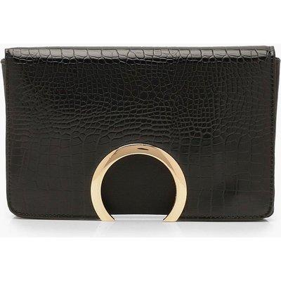 Womens Croc Metal Circle Clutch Bag With Chain - black - One Size, Black
