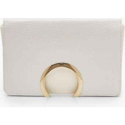 Womens Croc Metal Circle Clutch Bag With Chain - white - One Size, White