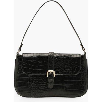 Womens Croc Buckle Detail Underarm Bag - Black - One Size, Black
