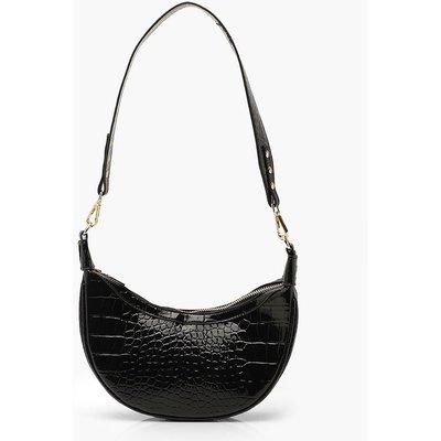 Womens Vinyl Croc Underarm Bag With Wide Strap - Black - One Size, Black