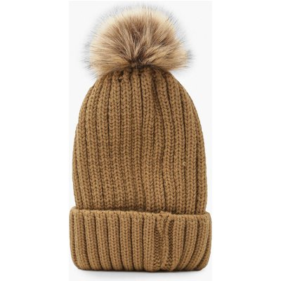 Womens Rib Knit Beanie With Large Faux Fur Pom - beige - ONE SIZE, Beige