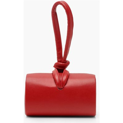 Womens PU Mini Knot Handle Clutch Bag - red - One Size, Red