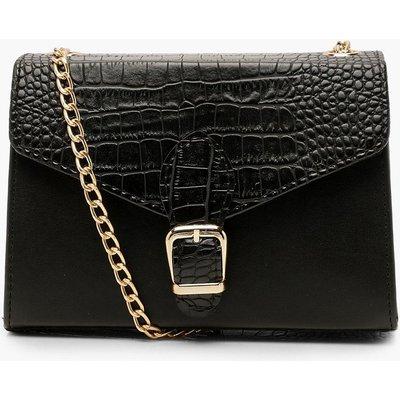 Womens Croc Buckle Detail Cross Body Bag - Black - One Size, Black