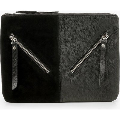 Womens Zip Detail Mix Fabric Clutch Bag - black - One Size, Black