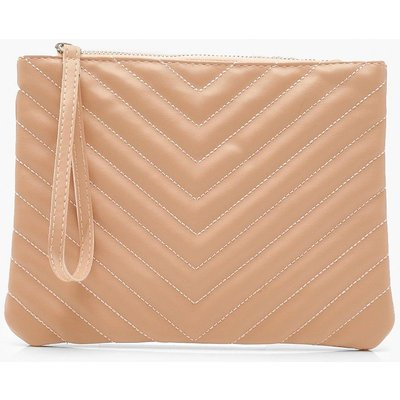 Womens PU Chevron Quilted Zip Top Clutch Bag - pink - One Size, Pink