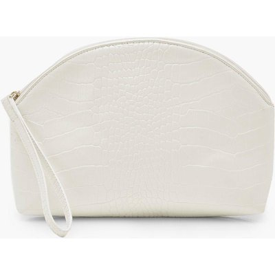 Womens Croc Half Moon Zip Top Pouch & Handle Bag - white - One Size, White