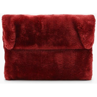 Womens Faux Fur Fold Over Clutch Bag - red - One Size, Red