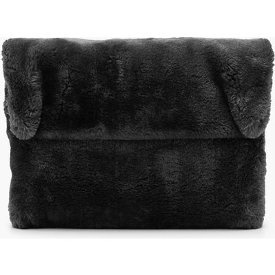 Womens Faux Fur Fold Over Clutch Bag - black - One Size, Black