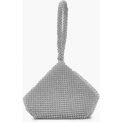 Womens Diamante Pouch Clutch Bag - Grey - One Size, Grey