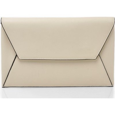 Womens PU Clutch Bag With Edge Detail - white - One Size, White