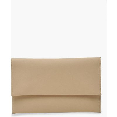 Womens Oversized Fold Over PU Clutch Bag - Beige - One Size, Beige