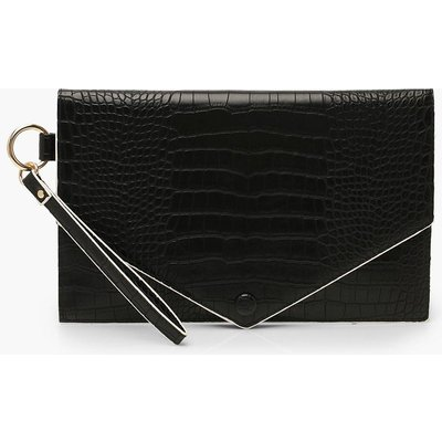 Womens Oversized Croc Clutch Bag With Edge Detail - black - One Size, Black