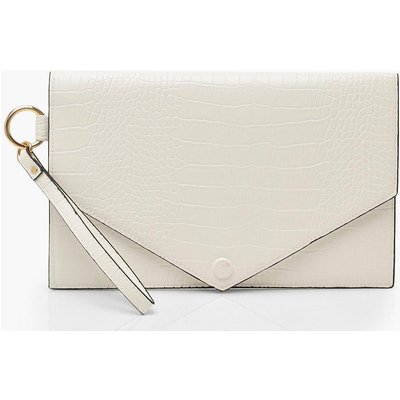 Womens Oversized Croc Clutch Bag With Edge Detail - white - One Size, White