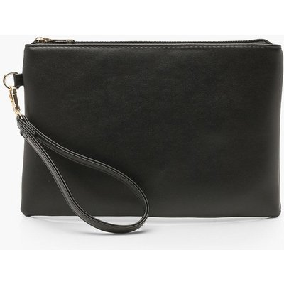 Womens Metallic Smooth PU Zip Top Clutch Bag - black - One Size, Black