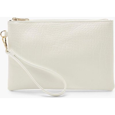 Womens Croc Zip Top Clutch Bag - white - One Size, White