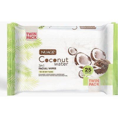 Womens Nuage Coconut Water 3 In 1 Facial Wipes - White - One Size, White