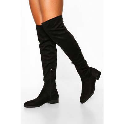 Womens Flat Cleated Knee Boots - Black - 4, Black