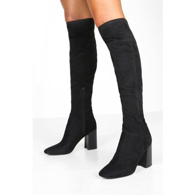 Womens Block Heel Pointed Toe Over The Knee Boots - Black - 6, Black
