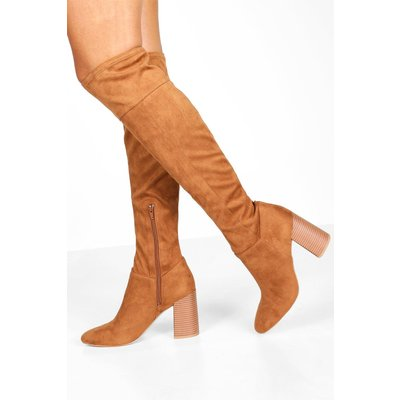 Womens Block Heel Pointed Toe Over The Knee Boots - Brown - 5, Brown