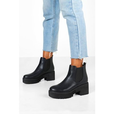 Womens Chunky Platform Cleated Chelsea Boots - Black - 4, Black