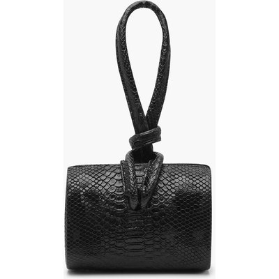 Womens Snake Mini Knot Handle Clutch Bag - black - One Size, Black