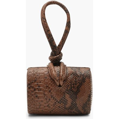 Womens Snake Mini Knot Handle Clutch Bag - beige - One Size, Beige