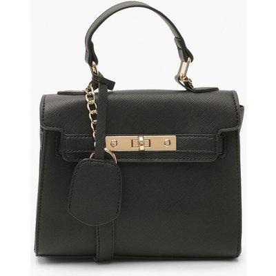 Womens Structured Mini Lock Crossbody Bag - Black - One Size, Black