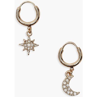 Womens Star And Moon Diamante Huggie Hoop Earrings - metallics - One Size, Metallics