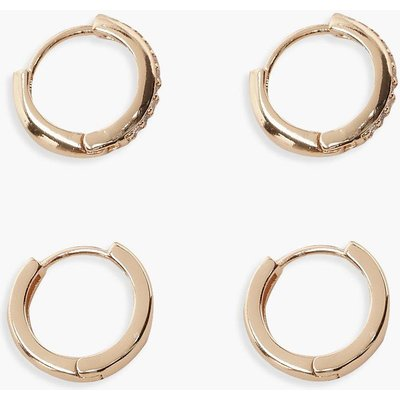 Womens Diamante And Plain Huggie Hoop Two Pack - metallics - One Size, Metallics