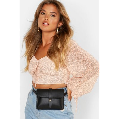 Womens PU Front Tab Belt Bag - black - One Size, Black