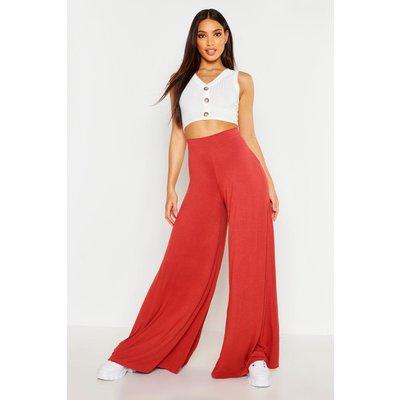 Womens Super Wide Leg High Waist Jersey Trousers - Orange - 12, Orange
