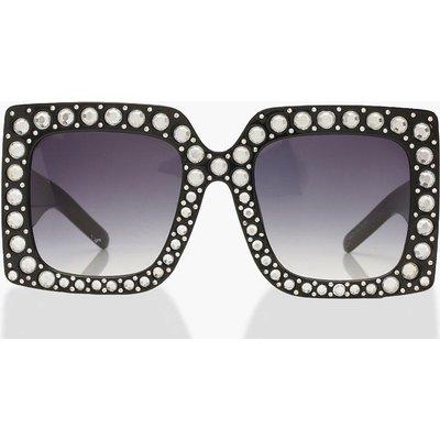 Womens Extreme Oversized Diamante Sunglasses - black - One Size, Black