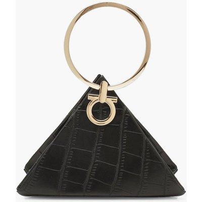 Womens Croc Triangle Ring Handle Clutch Bag - black - One Size, Black