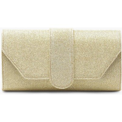 Womens Shimmer Front Tab Clutch Bag - metallics - One Size, Metallics