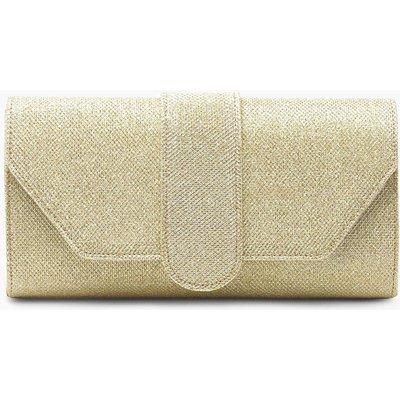 Womens Shimmer Front Tab Clutch Bag - metallics - One Size, Metallics