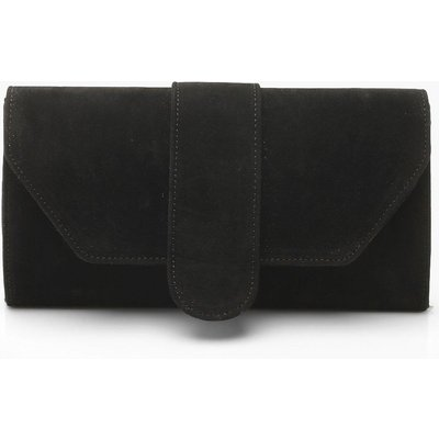 Womens Suedette Front Tab Clutch Bag - black - One Size, Black