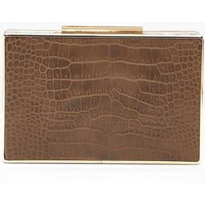 Womens All Over Faux Croc Box Clutch Bag - brown - One Size, Brown