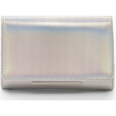 Womens Structured Clutch Bag & Chain - grey - One Size, Grey