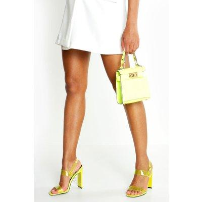 Womens Clear Double Strap Heels - green - 3, Green