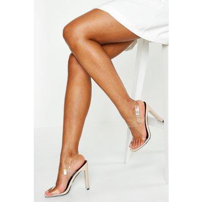Womens Clear Double Strap Heels - Beige - 7, Beige