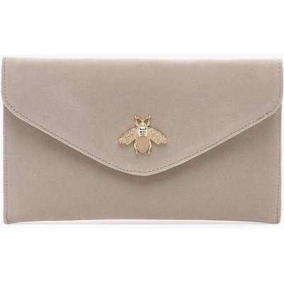 Womens Metal Bug Envelope Clutch Bag - grey - One Size, Grey