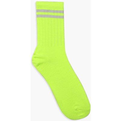 Womens Neon Lime Sports Stripe Socks - green - One Size, Green
