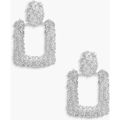 Womens Small Square Textured Statement Earrings - grey - One Size, Grey
