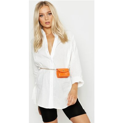 Womens Mini Croc Chain Belt Bag - orange - One Size, Orange