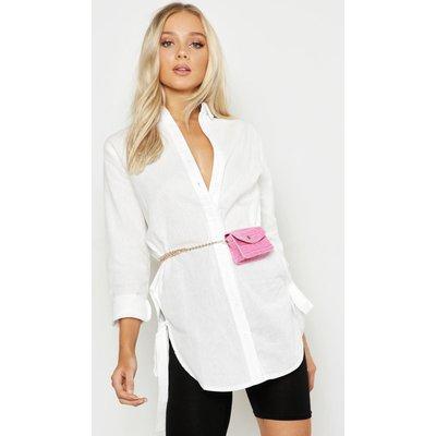 Womens Mini Croc Chain Belt Bag - Pink - One Size, Pink