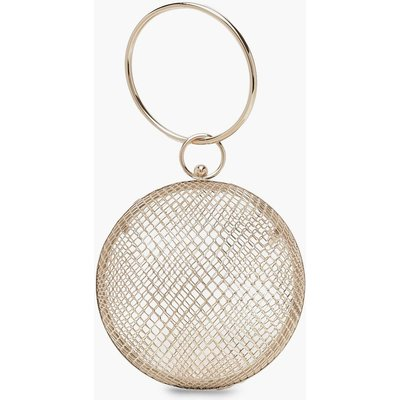 Womens Cage Sphere Clutch Bag - metallics - One Size, Metallics