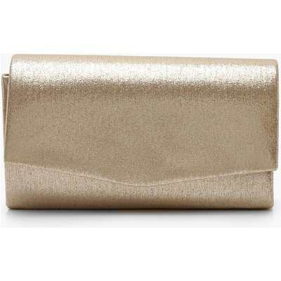 Womens Structured Metallic Clutch Bag & Chain - Metallics - One Size, Metallics