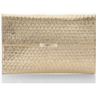 Womens Metallic Faux Snake Envelope Clutch Bag - Metallics - One Size, Metallics
